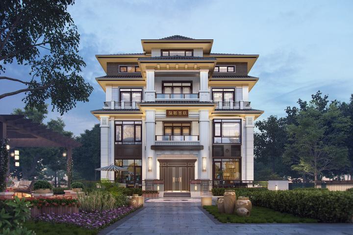 北京顺义四层新中式别墅